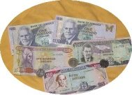 Picture Jamaican Money- Bank Notes + $20, $10 and $5 coins
