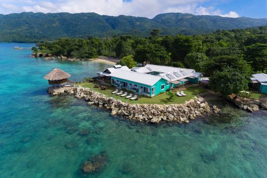 aerial view of luna sea inn belmont, westmorealnd jamaica