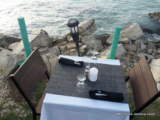 table near shoreline