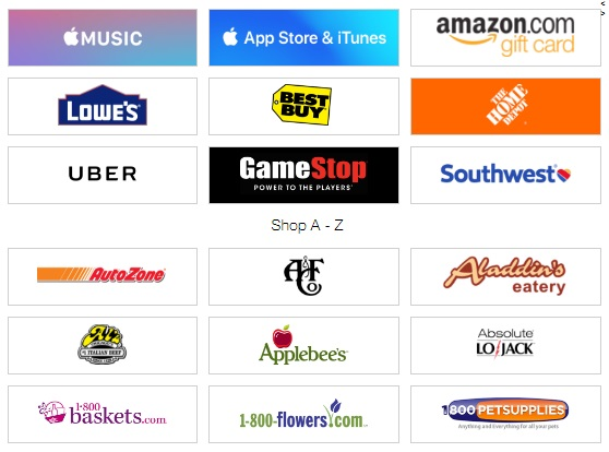 paypal gift card list