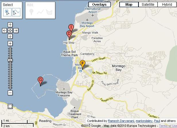 Map of Montego Bay Jamaica