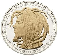 Jamaican Coins 20 Dollar Bob Marley Coin Commemorative