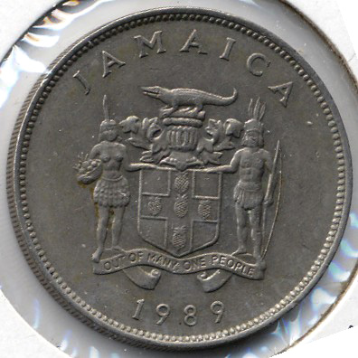 Jamaican 1989 25 Cents Back