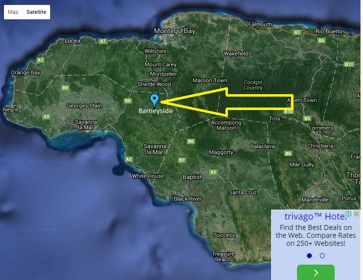 barneyside jamaica map physical