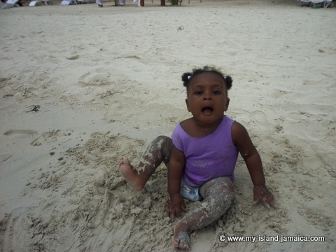 Negril Beach - Aliana in sand