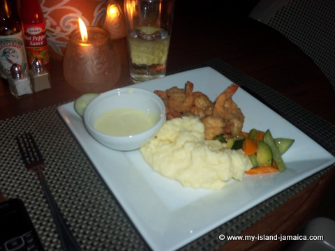 fish dinner at ivans restaurant at catcha falling star hotel