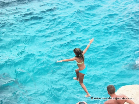 Rick's Cafe Negril - Girl Cliff Jumping