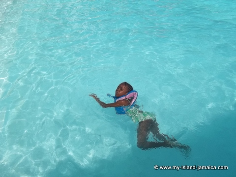 karena (leah) swimming at fdr resort jamaica pool