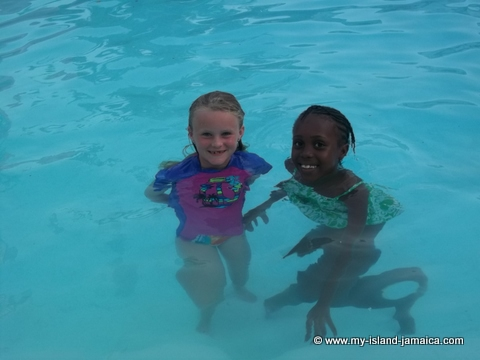 karena gayle and kid in pool at fdr resort jamaica