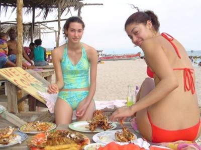 Eating Fish and Lobster At Hellshire Beach at Hellshire,  St. Catherine (Jamaica Parishes)