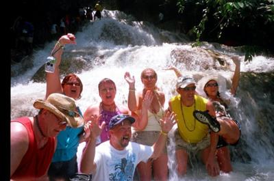 Some of our group at Dunn's River Falls
