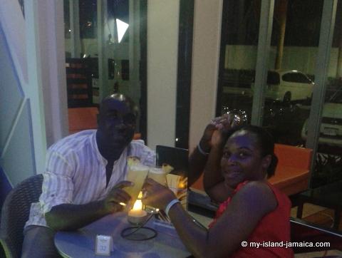 having a drink at the lobby bar at rui palace jamaica