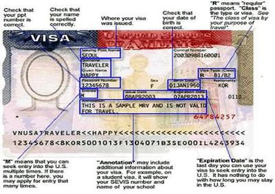 Sample Visa -  source:Path2usa.com