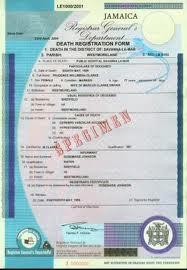 Jamaican Birth Certificate - Specimen
