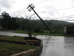 Broken light pole after hurricane