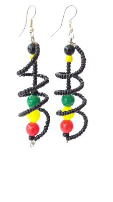 Beaded Spiral Rasta Earrings