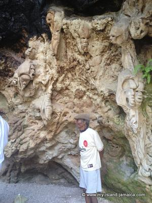 Jamaican Cave with carvings