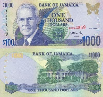 jamaica 1000 dollars bank note
