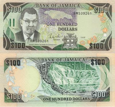 Jamaica 100 Dollars Bank Note