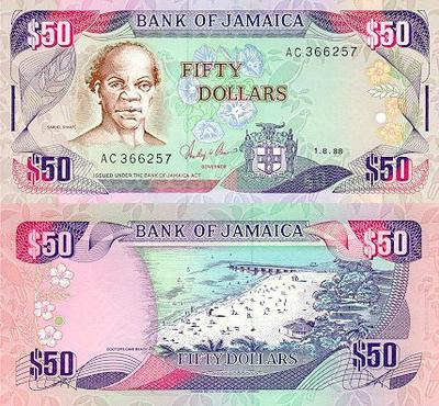 Jamaica 50 Dollars Bank Note