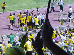Football In Jamaica - Reggae Boyz Celebrating in 1998