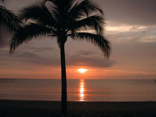sunset view from a jamaica beach rental