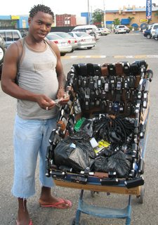 Wireless phone case seller on the Street in Jamaica