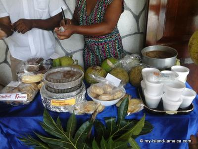 Breadfruit Pudding On Display With Other Breadfruit Products