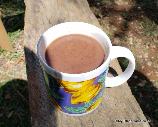 Jamaican chocolate tea in cup