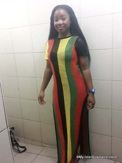 jamaican dress- my friend zoey displays jamaican/rasta colours