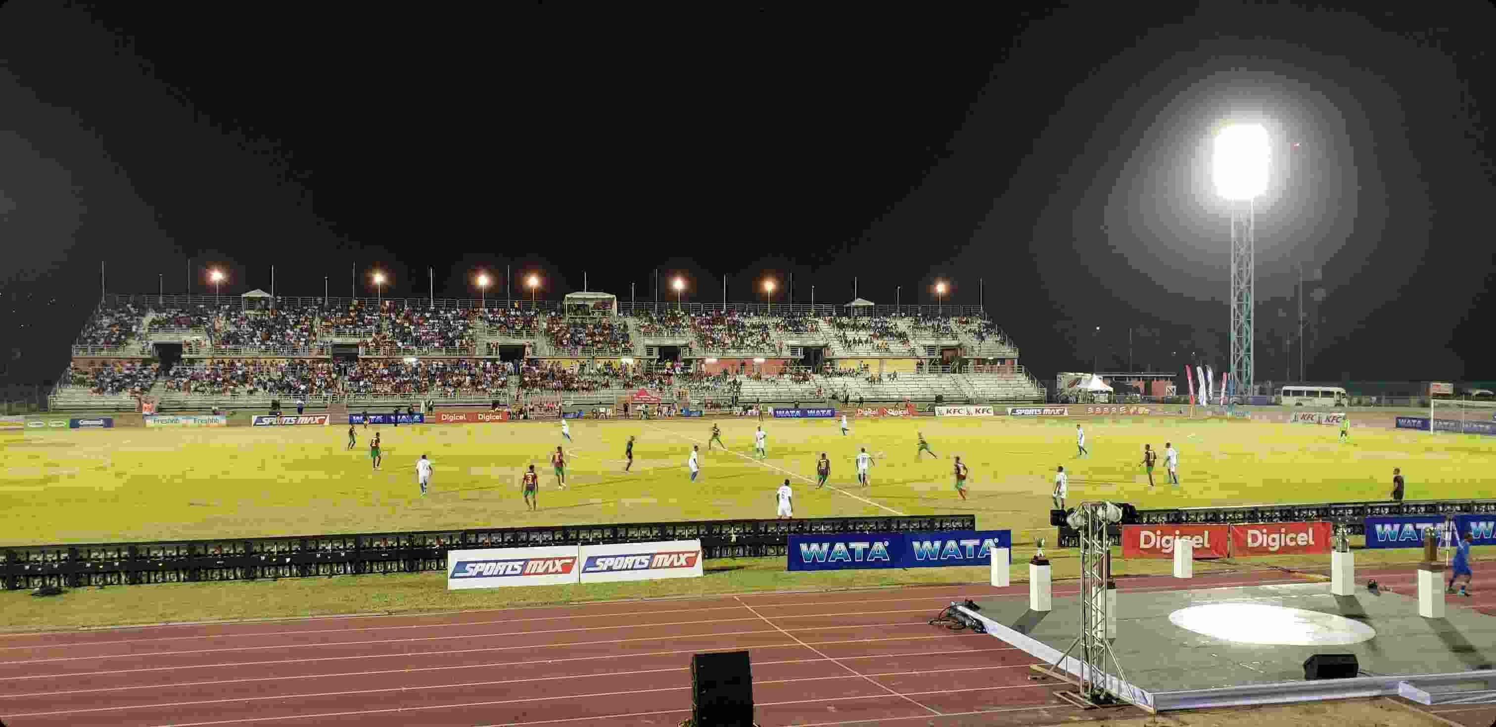 school boy football match in montego bay