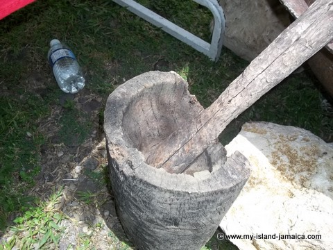 Traditional jamaican mortar and pestle