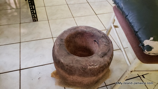 Mortar used to make beat cocoa beans to make Jamaican chocolate tea