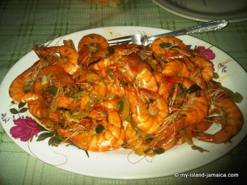 jamaican shrimp dish -on wellesley's birthday August 2012