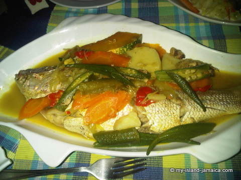 jamaican steamed fish from Sky Beach Bar & Grill