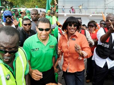 Portia Simpson and Andrew Holness