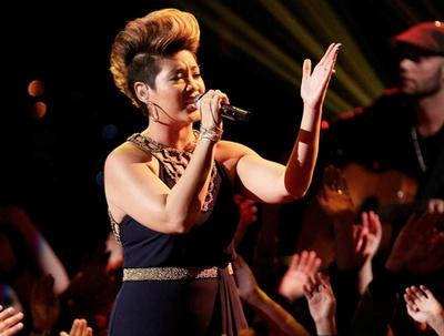 Jamaica's Tessanne Chin performing on NBC's The Voice