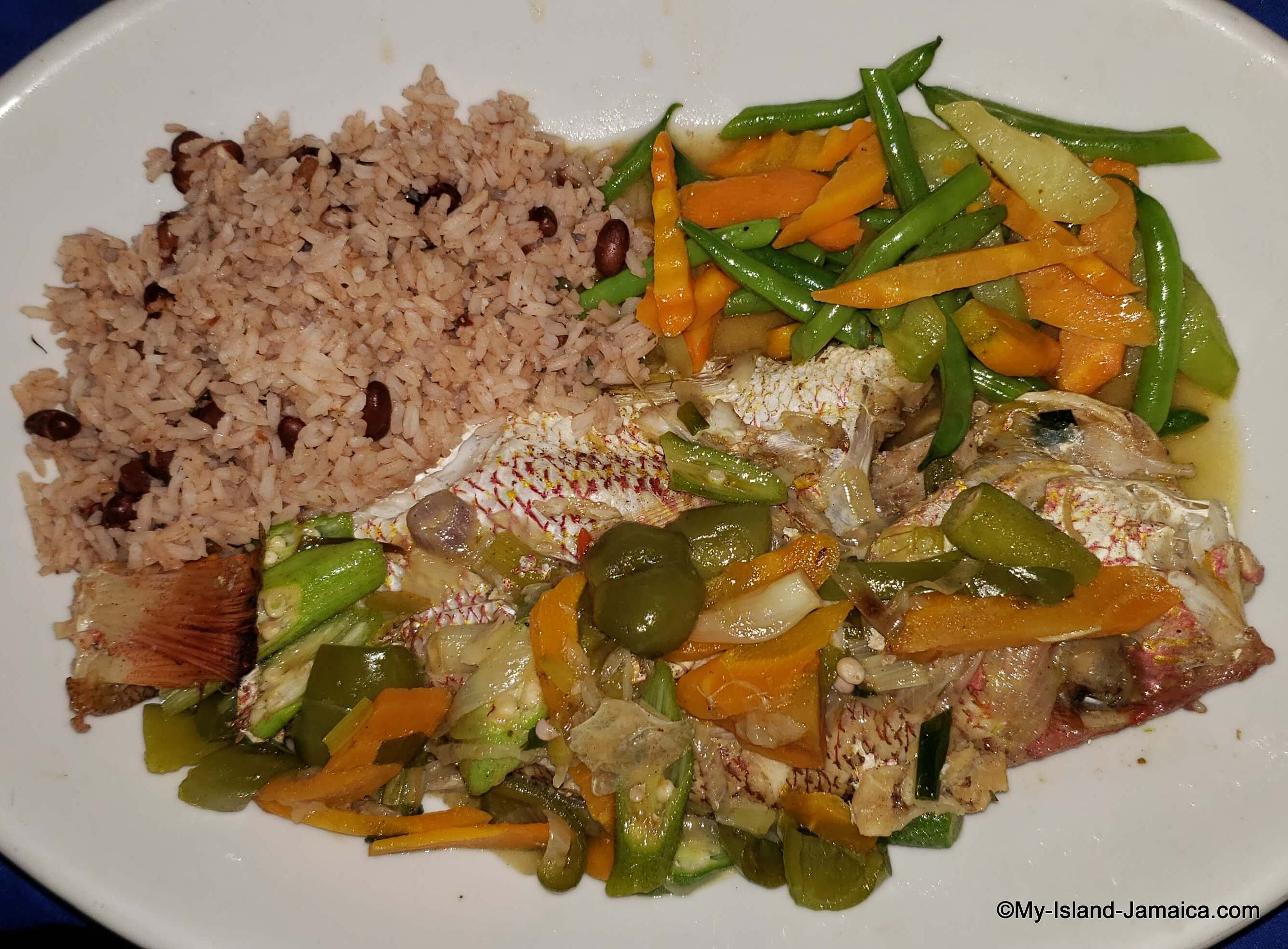 jamaican steamed fish with rice and peas
