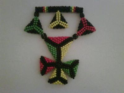 3D Beaded Triangles Pendant