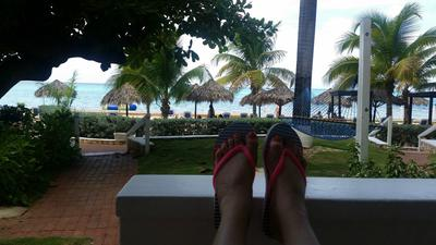 Sitting on my hotel patio in Montego Bay