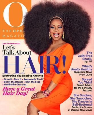 Oprah wears hair on O Magazine