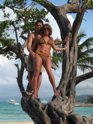 ocho rios beach jamacia - my hubby and I in a tree