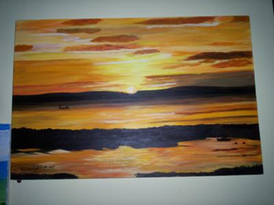 A Scotish Sun Set in Acrylics
