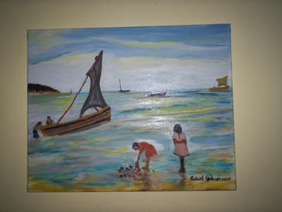A Sea Scape Children Playing