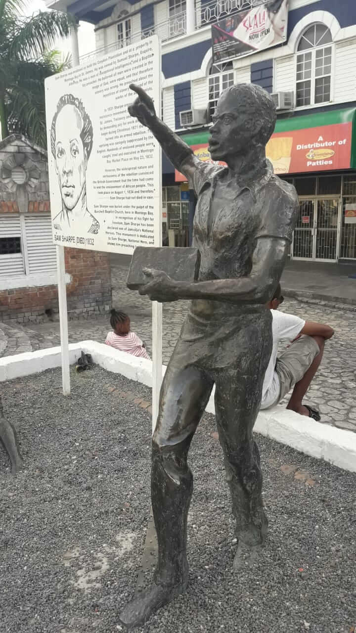 national hero - sam sharpe statue in montego bay - preaching