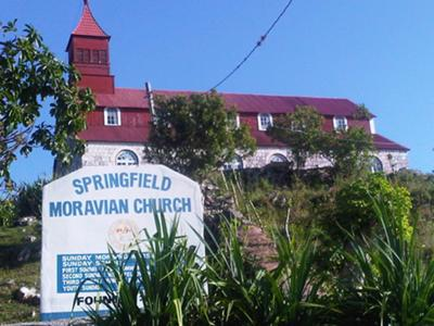 The picturesque Moravian church on the hill