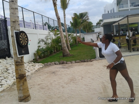 Omeil Bryan-Gayle playing Dart at Riu Palace Resort 2014