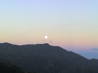 The Full Moon Setting behind the Blue Mountains, just as dawn is breaking.