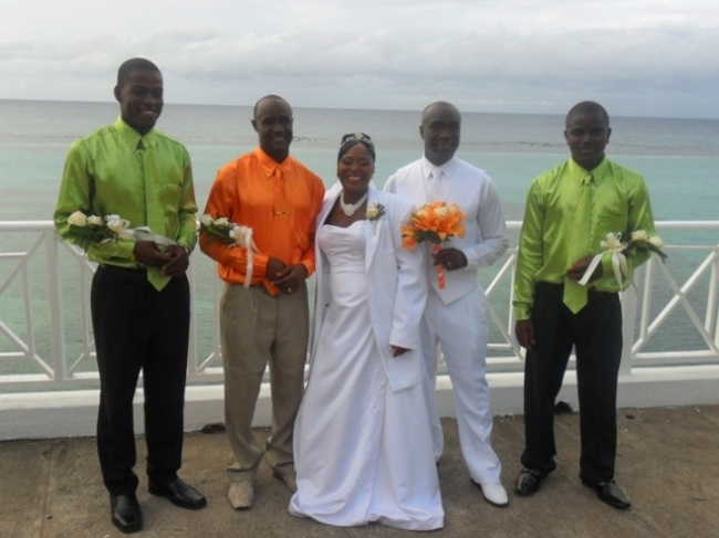 Jamaica Wedding Ceremony - Groomsmen without Jackets -with flowers