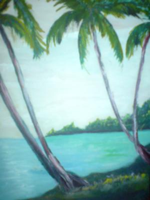 Jamaican Beach with coconuts